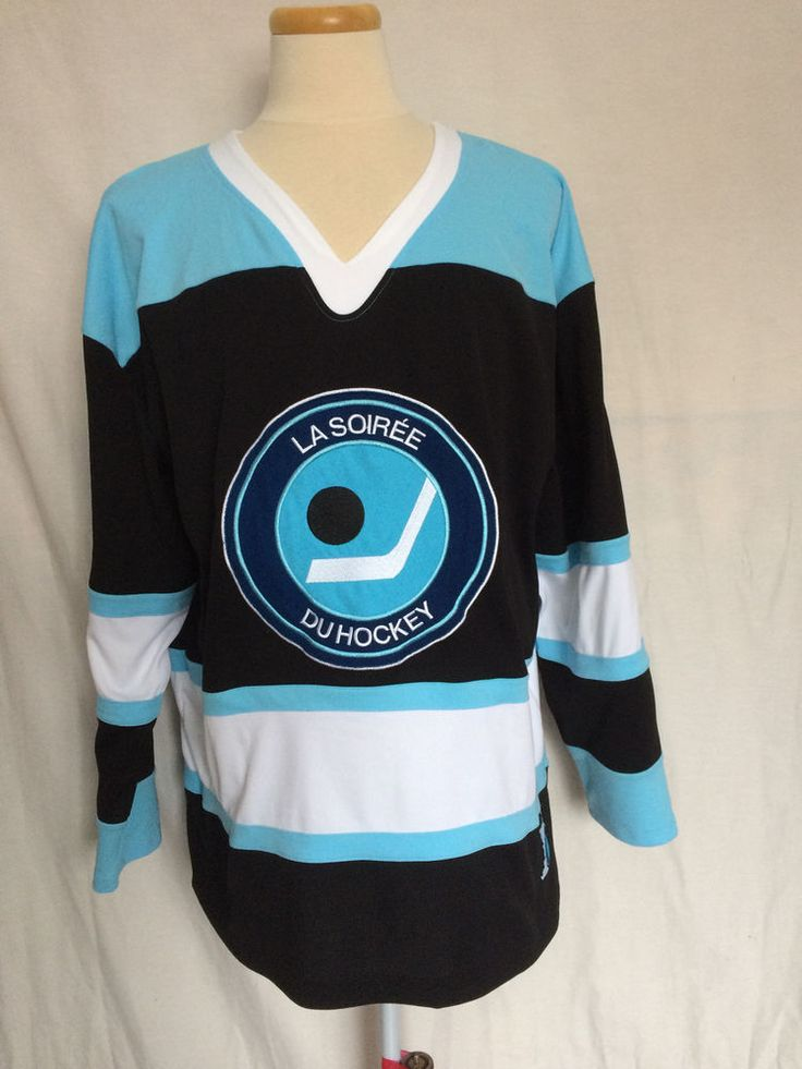 CBC Hockey Night In Canada Jersey Sz XL French Crest White Black Blue NHL #CBC