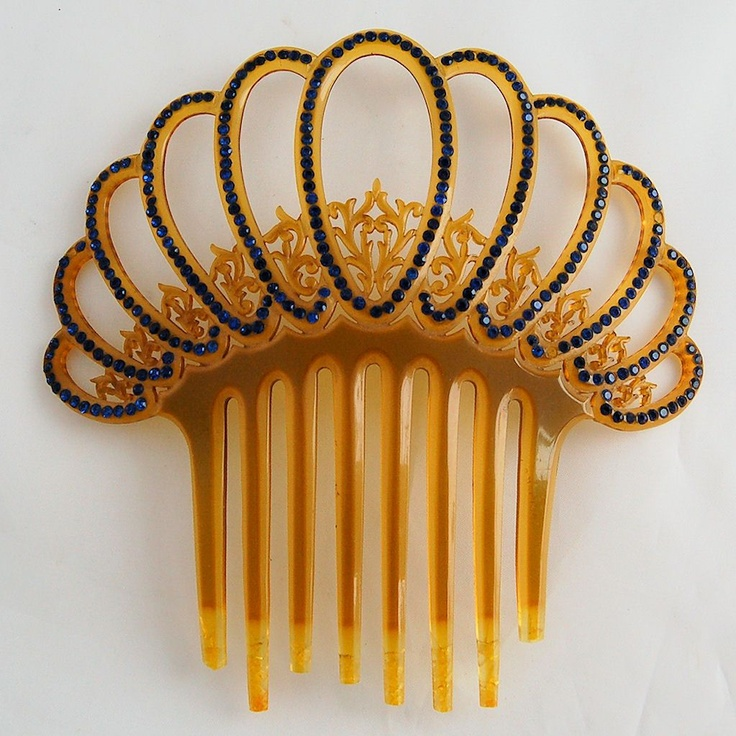 Vintage Art Deco Celluloid Filigree Tiara Hair Comb Sapphire Blue Rhinestones from Antik Avenue on Ruby Lane SOLD!