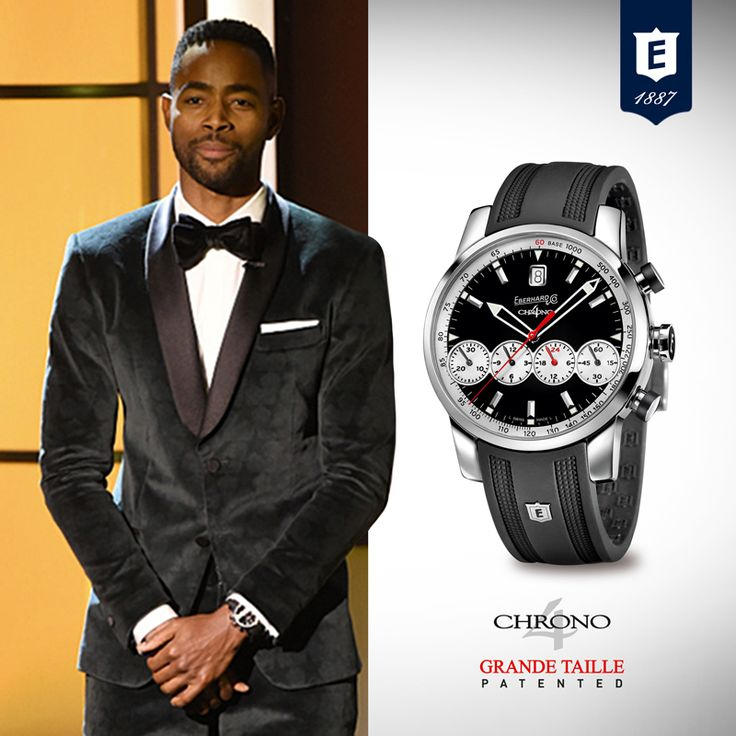 Actor, Jay Ellis, wears the Chrono 4 Grande Taille model, the iconic chronograph of the Swiss Maison Eberhard & Co., while attending and presenting at BET's American Black Film Festival. Ellis currently stars in the new HBO comedy series, Insecure. #eberhardwatches #chrono4grandetaille #chrono4 #JayEllis #chronograph #patented #registereddesign #4countersinline
