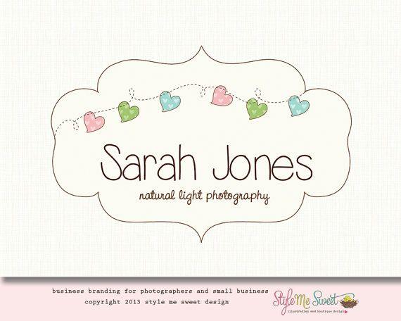 photography logo heart logo design premade logo frame hand drawn photographers or small business logo