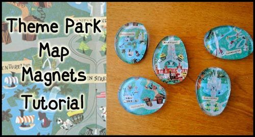 Disneyland Map Magnet Tutorial ~ such a fun souvenir... would also be fun to put on your stateroom door on a Disney Cruise! #disneyland #disney