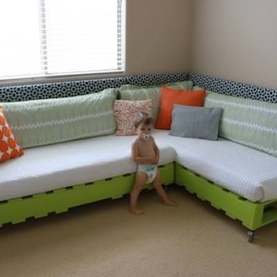 DIY Kids' Beds {diy bed}Come learn how to create this space saving, budget friendly, kid-friendly bed solution for small children. This is such a great idea for those with kiddos transitioning out of cribs!View This Tutorial