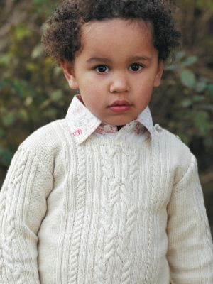 Cable sweater pattern Free download To fit ages 0-3 (3-6:6-9:9-12: 12-18) months and 2(3:4) years