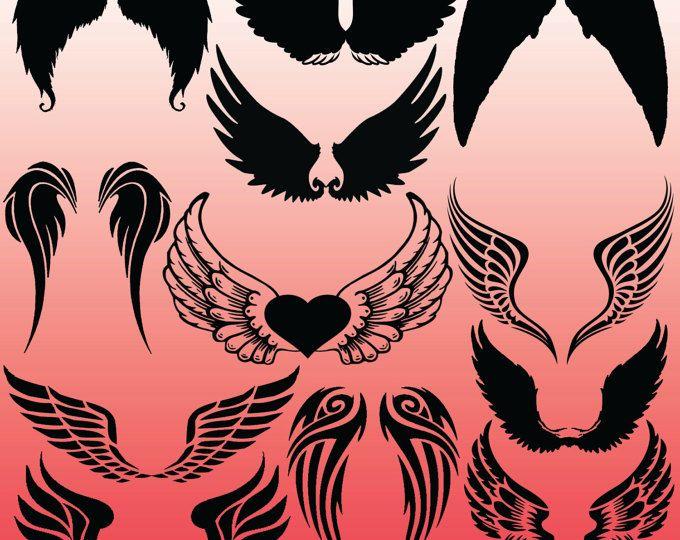 12 Angel Wings Silhouette Images, Digital Clipart Images, Clipart Design Elements, Instant Download, Black Silhouette Clip art
