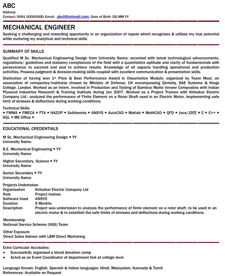 mechanical engineer resume for fresher httpwwwresumecareerinfo - Engineering Professional Resume