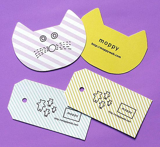 moppy 様 ショップカード・タグ|事例紹介 | 型抜き印刷ドットコム|型抜き印刷の専門店
