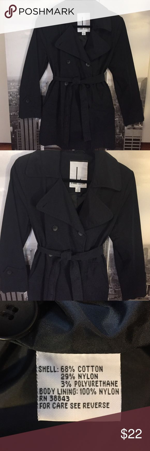 Larry Levine woman's trench coat, size Small Very cute Larry Levine trench, no hood but pockets and a cute belt. This is a lightweight trench for milder rain days. Larry Levine Jackets & Coats Trench Coats
