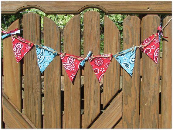 Bandana rouge & bleu Bunting, Bandana bannière, anniversaire de Cowboy, Cowboy Party, anniversaire de cow-girl, cow-girl Party, Country Western bannière, Bandana