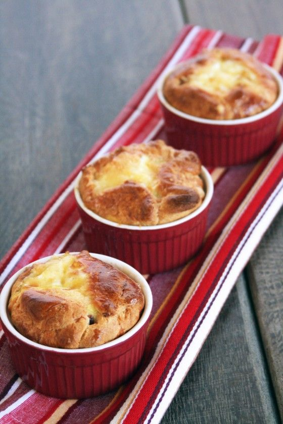 Bacon, egg, and cheese souffles (sorry, we can't change the 't' in the title!). Cheesy Facts: During the Roman Empire large Roman houses had separate kitchens for manufacturing cheese, they were called careale.