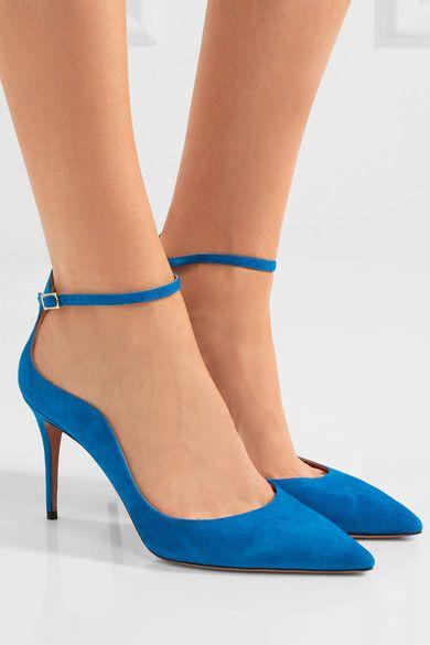 Le talon mesure environ 85 mm  Daim bleu vif  Brides à fermeture boucle aux chevilles  Référence couleur : Aegean Blue  Fabriqués en Italie