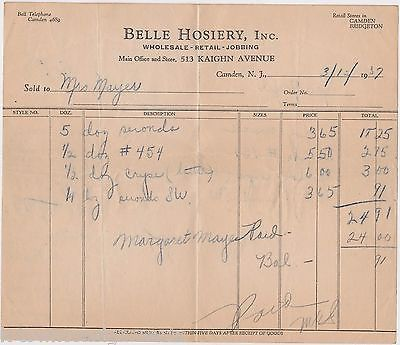 BELLE HOSIERY CAMDEN NEW JERSEY ANTIQUE 1930s BUSINESS STATIONERY RECEIPT DOC