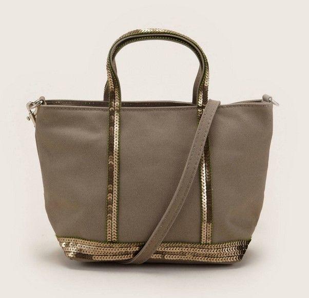 Vanessa Bruno Petit sac bandoulière en toile gris détails sequins prix Sacs Monshowroom 95.00 € TTC