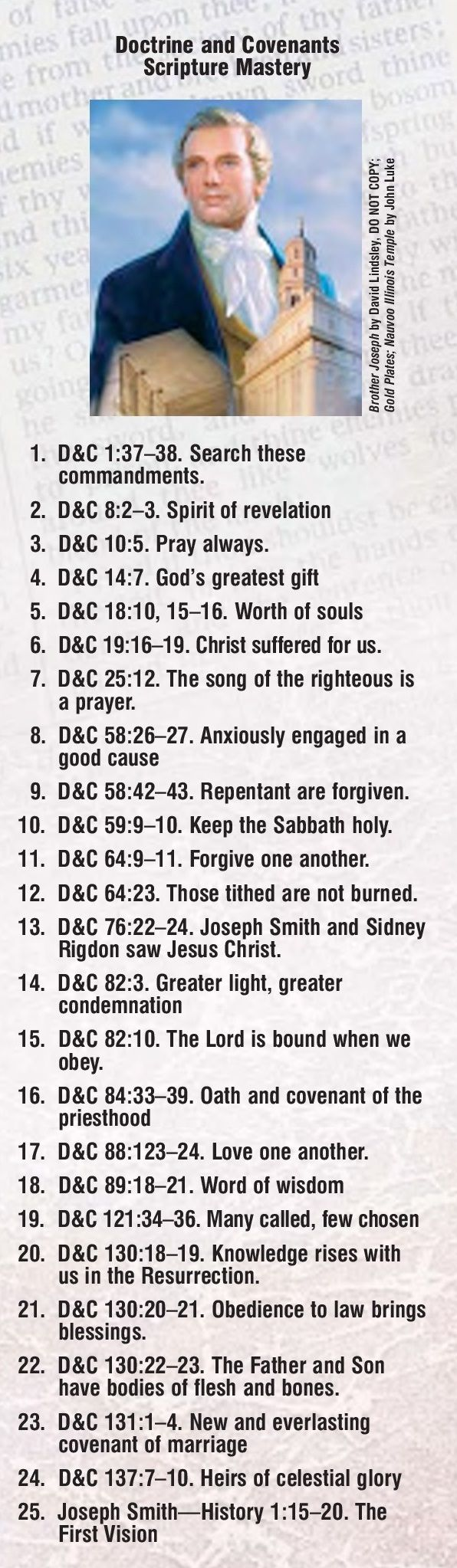 Doctrine and Covenants scripture mastery bookmark. #lds #mormon