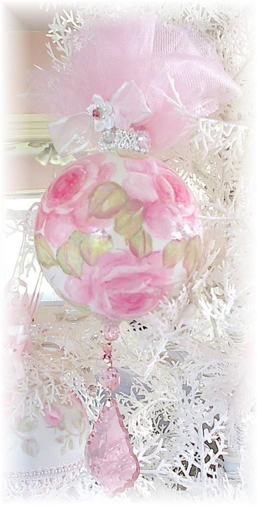 shabby chic christmas | Shabby & Chic Christmas / Glass Ornament ~ Hand Painted Pink Roses!