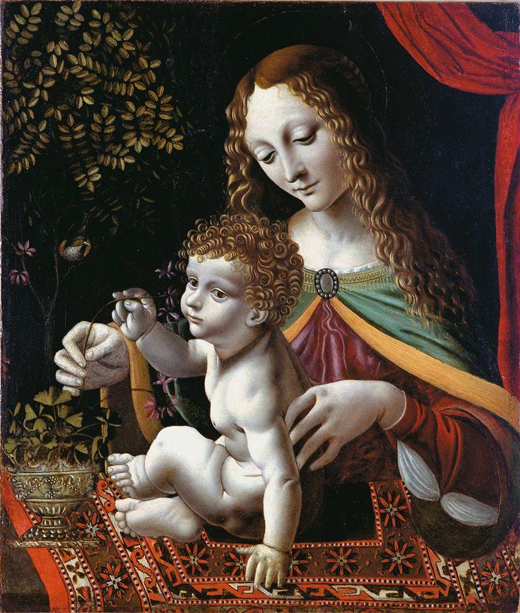 """Bernardino de' Conti (1465/1470-1523) —  Madonna and Child,  """"Madonna Crivelli"""",   c.1490 : Palazzo Crivelli,Trezzo.  Italy  (1737×2048):"""