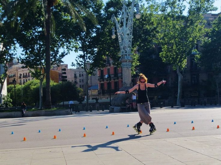 Rollerblader in action, Barcelona