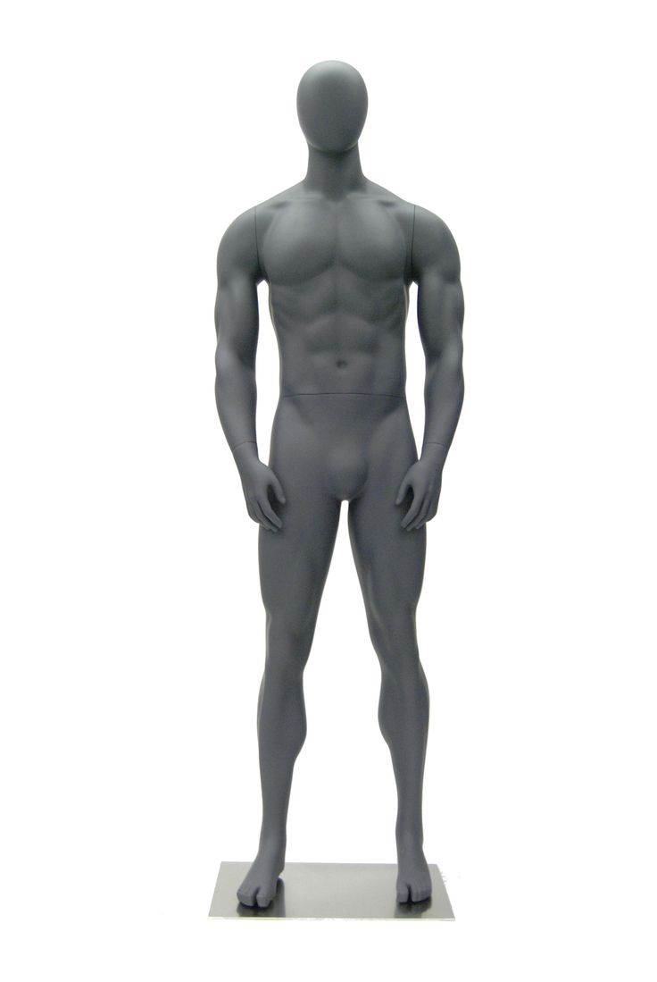 This is an egghead male mannequin in an athletic pose with arms at side, for your sporting displays. You can dress him in athletic wear to show he is ready to go. He has a matte grey finish and comes