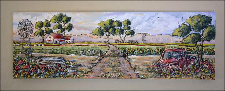 Sunset on the farm - Janet's Art Acrylic on stretched canvas 121,5cm x 40cm  janet1bester@gmail.com