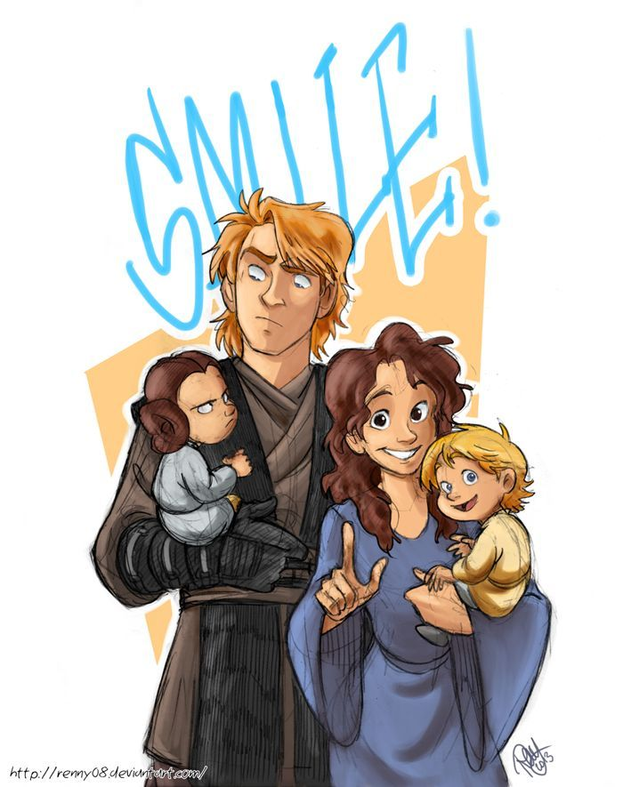 "Skywalker family pic. Haha! I love how Padmé and Luke are both smiling and happy, while Leia is eying Anakin like, ""I got my eye on you, Dad,"" and Anakin is like, ""Um, Padmé? Why is she looking at me like that?"":"