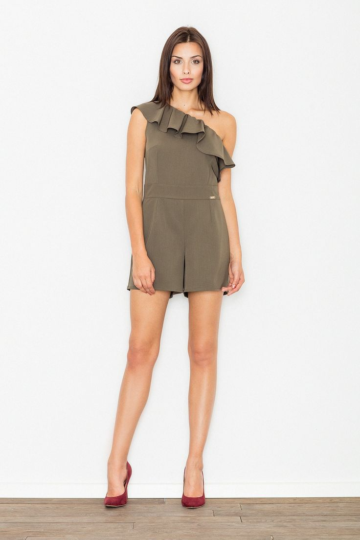 Are you looking for trendy sleeveless jumpsuit? Click here and find the best khaki one-shoulder jumpsuit. This one-shoulder jumpsuit is crafted in elegant khaki color. It has a shoulder frill, which creates an interesting form and fits the figure well. The waist is emphasized by a wide belt made of fabric.