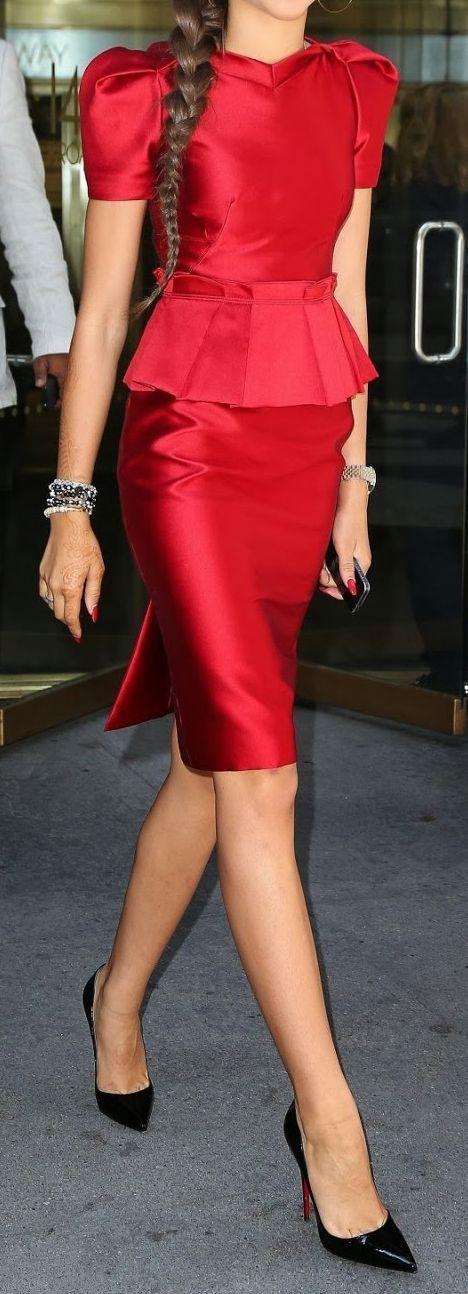 Chic fashion | Silky chic red peplum dress