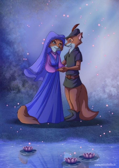"""Maid Marian and Robin Hood in """"Robin Hood"""" (1973). Voiced by Monica Evans and Brian Bedford."""
