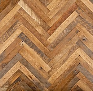 Herringbone Hardwood Floor... Great decorative feature for a smaller room. Too big of a room would e a bit busy!