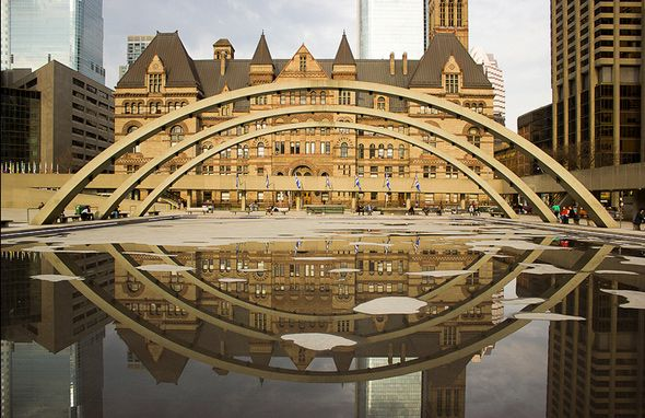 Nathan Phillips Square reflecting pool