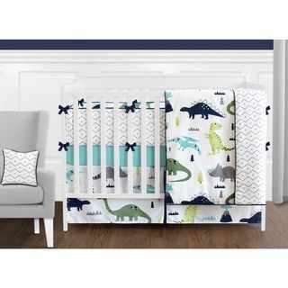 Sweet Jojo Designs Blue and Green Mod Dinosaur Collection 9-piece Crib Bedding Set - Free Shipping Today - Overstock.com - 21075314 - Mobile