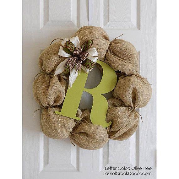 Cottage Chic Burlap Wreaths with Monogram Initial