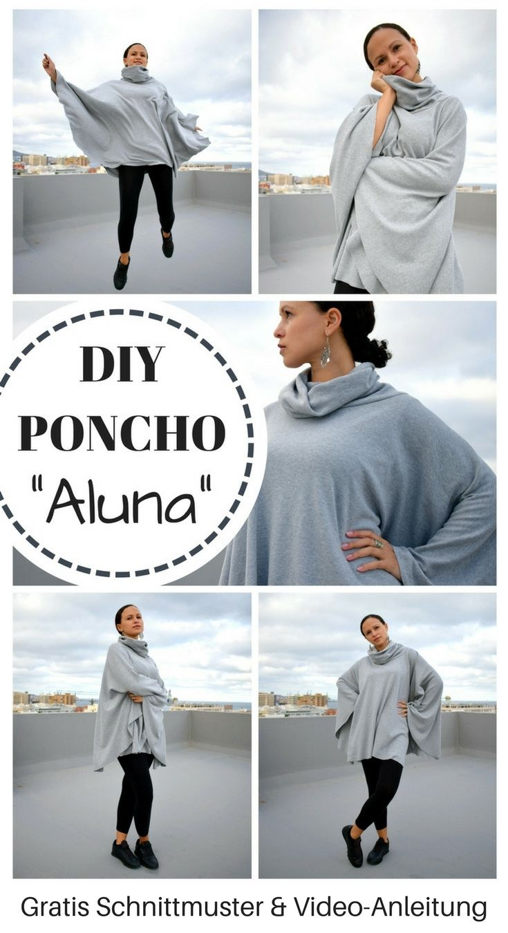 Poncho mit Kragen nähen kostenloses Schnittmuster gratis Anleitung DIY MODE Cape Aluna Jersey