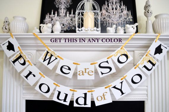 graduation party decorations, graduation banner, first communion banner, Congratulations banner,  We are so Proud of you,  Party Decorations