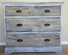 How to paint wood to look like weathered Restoration Hardware wood. Here's a real Restoration Hardware dresser that I painted to look more like the weathered look Restoration Hardware finish. :) Details at imeeshu.com