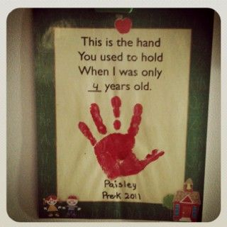 adorable handprint art project idea from child to parent - you held this hand when i was only 4 years old.