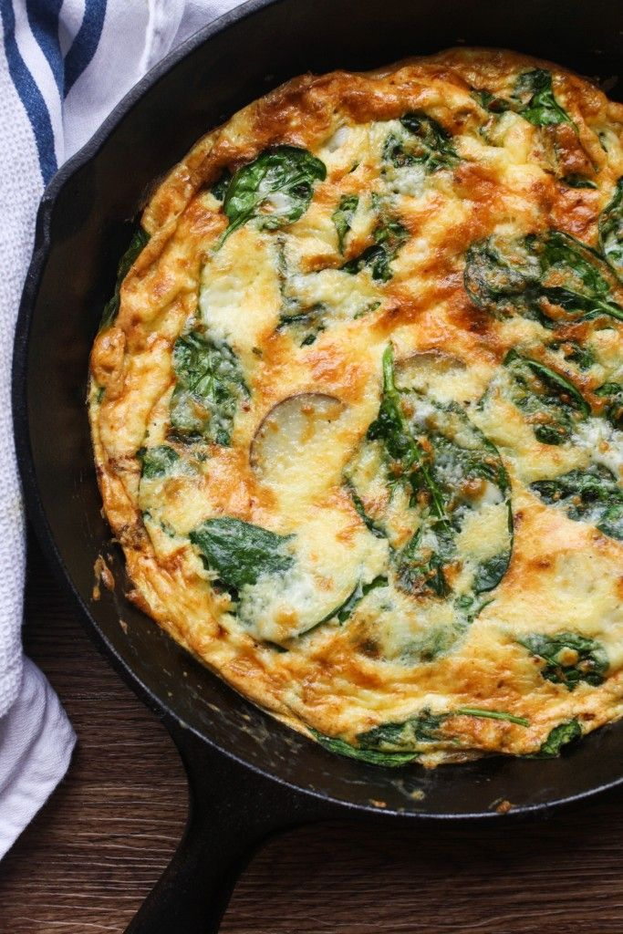 A potato, cheddar and spinach frittata. Often called a crustless quiche, this will become your favorite way to cook eggs!