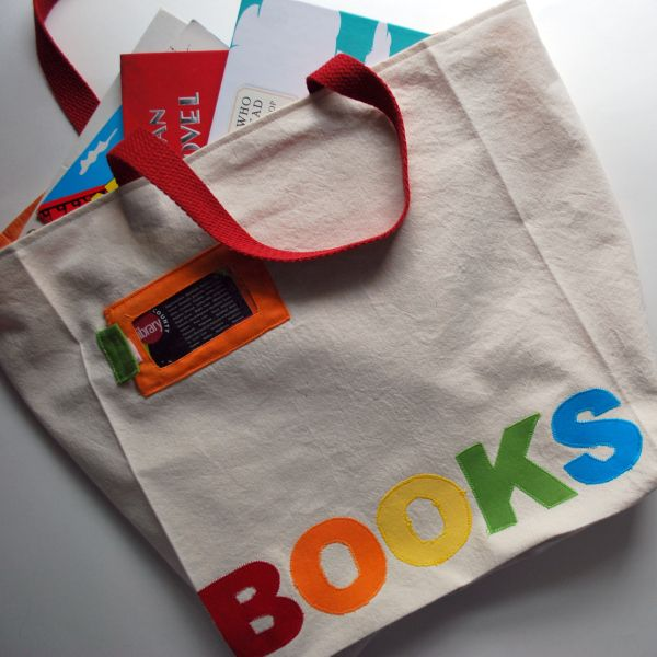 Library book tote bag - card pocket on front