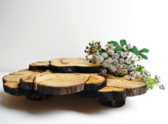 Wooden Centerpiece, Cupcake Stand is made of tree slices and logs, varnished for protection.  It can be used as a rustic centerpiece, cupcake