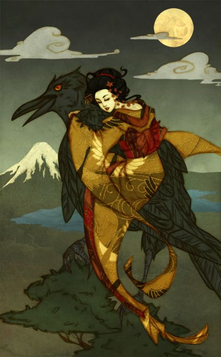Illustration of a Japanese fairy tale wherein a girl befriends a crow demon in order to save the soul of her sister. Illustrated by Liz Pulido