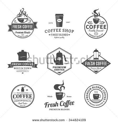 Set of coffee shop logos. Coffee labels with sample text. Mugs, beans and
