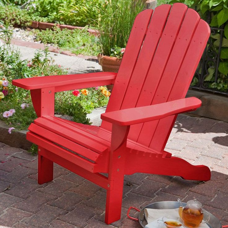Environmentally Friendly Weather Resistant Eucalyptus Wood Adirondack  Chair, Red   Quality House