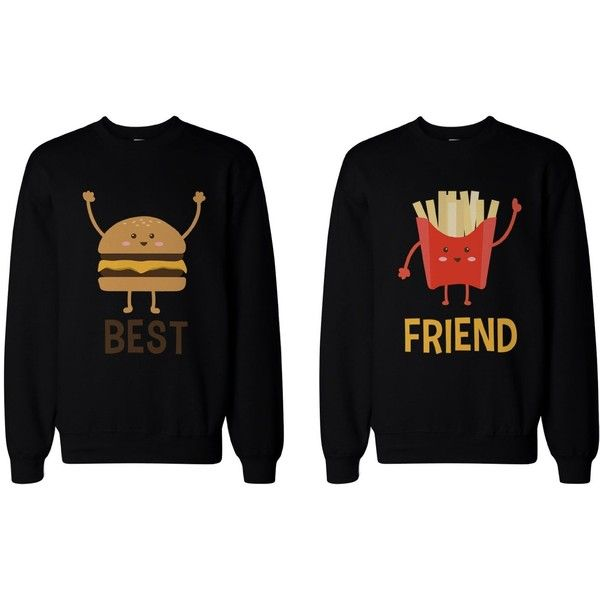 Burger and Fries BFF Sweatshirts Best Friend Matching Pullover Fleece... ($49) ❤ liked on Polyvore featuring tops, sweatshirts, black pullover, sweater pullover, black fleece pullover, black fleece top and fleece tops