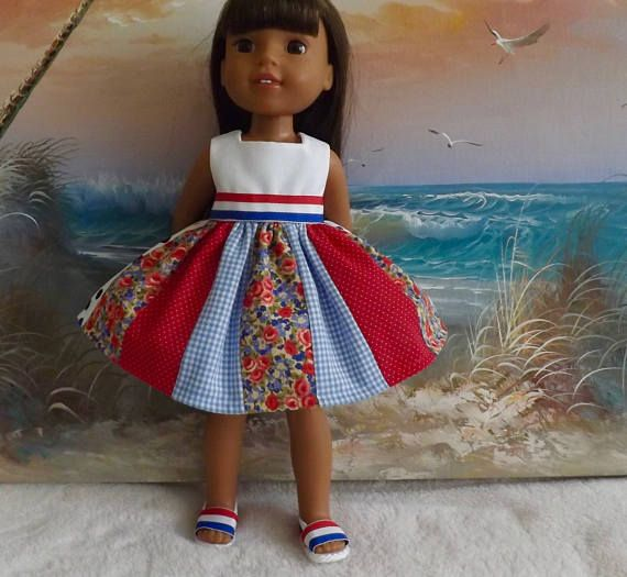 14 and 14.5 Doll Dress Red White and Blue Medley V1 OOAK