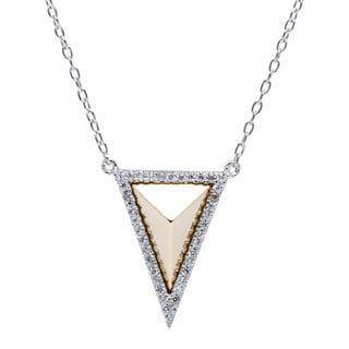 La Preciosa Sterling Silver Two-tone Pyramid-Style CZ Triangle Necklace