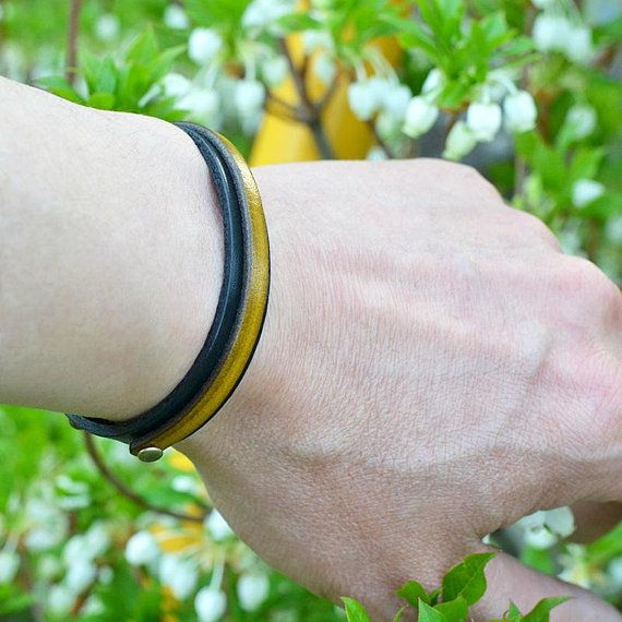 Japanese jewelry. Leather bracelet. Men. Mens. Womens. Black. Yellow. Gift for him. Gift for her. Japanese clothing. Birthday. Made in Japan