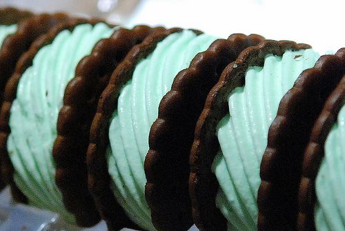 Mint flavored Skinny Cow ice cream sandwiches...haven't had one of those in forever!