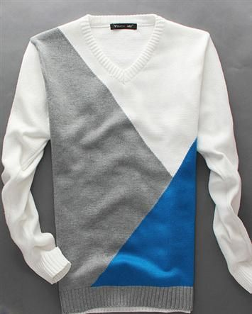 Casual Two Tone V Neck Long Sleeve Knitted Pullover Men Sweaters