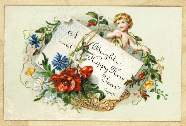 Sm Cherub w Flower Basket Antique Victorian New Year Card