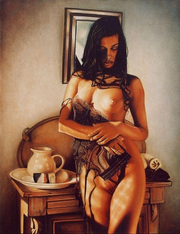 AKT olej na płótnie 70 x 92cm NUDE oil on canvas 70 x 92 cm.