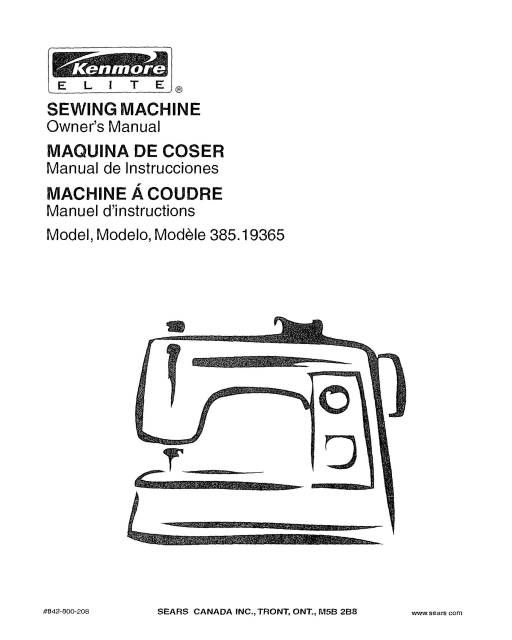 Kenmore 385.19365 Embroidery Sewing Machine Instruction