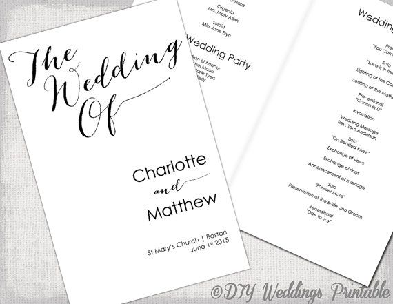 Wedding program template calligraphy black white for Wedding processional order template